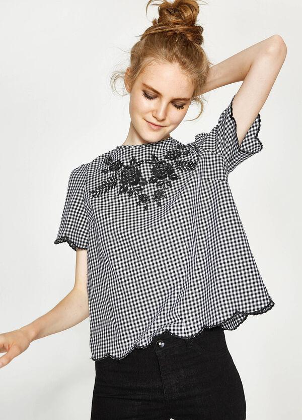 Bluse aus Baumwolle kariert mit Stickerei | OVS