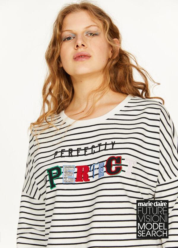 Crop-Sweatshirt Baumwolle Streifenmuster