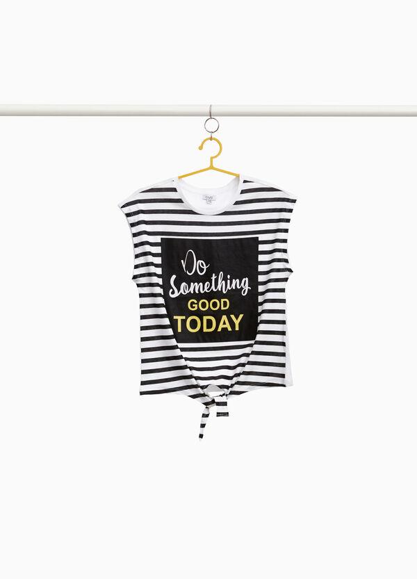 T-Shirt Baumwolle gestreift und Lettering