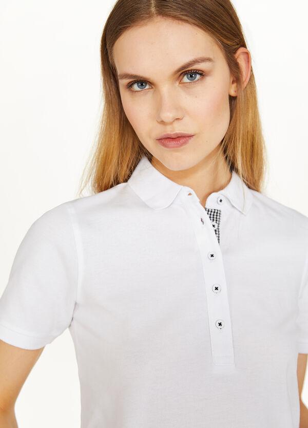 Einfarbiges Polo-Shirt Baumwollstretch