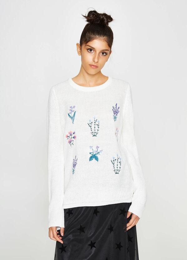 Trikot-Pullover mit Blumenstickerei   OVS