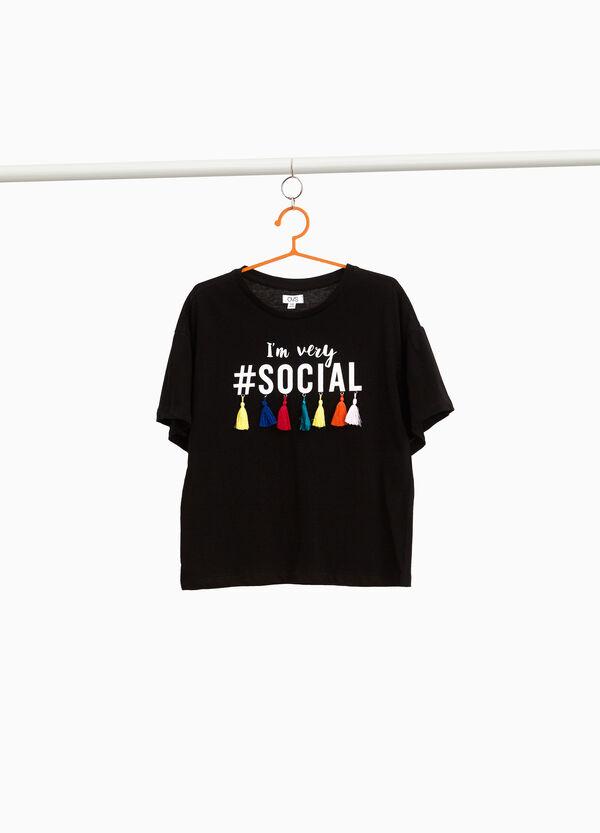 T-Shirt reine Baumwolle mit Quasten