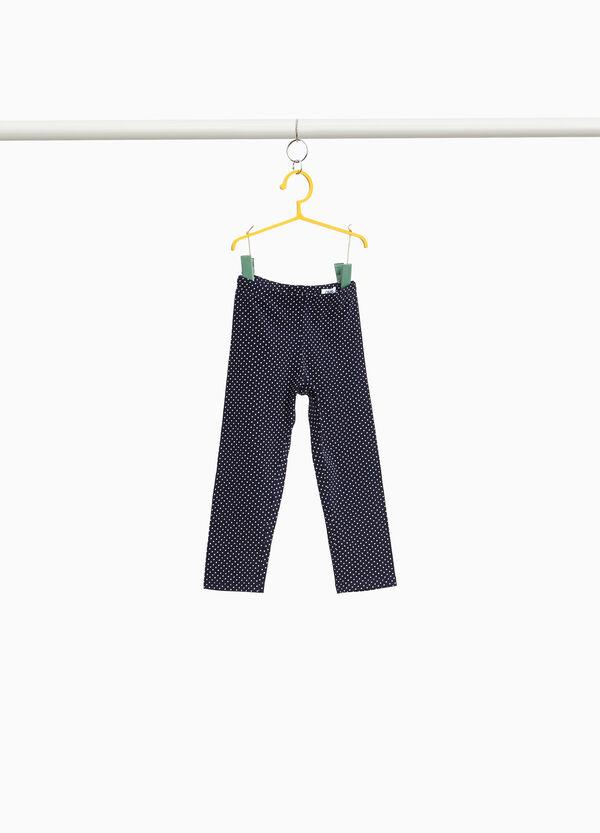 Baumwollstretch-Leggings mit Tupfenmuster