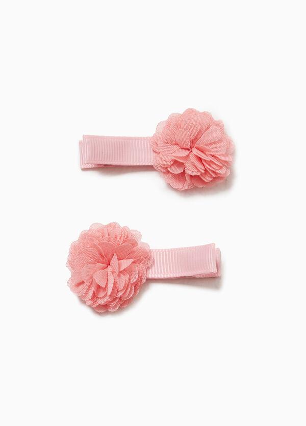 Set Haarspangen mit Blumen-Applikationen