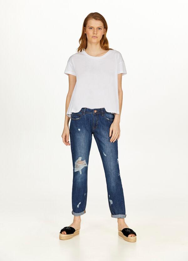Crop-Jeans Girlfriend Fit mit Destroyed-Stellen