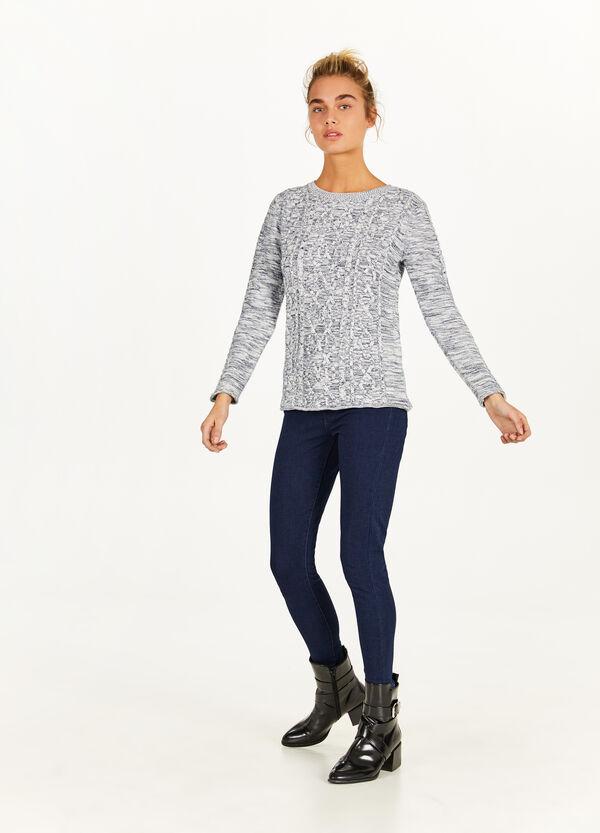 Pullover meliert mit Trikot-Verarbeitung
