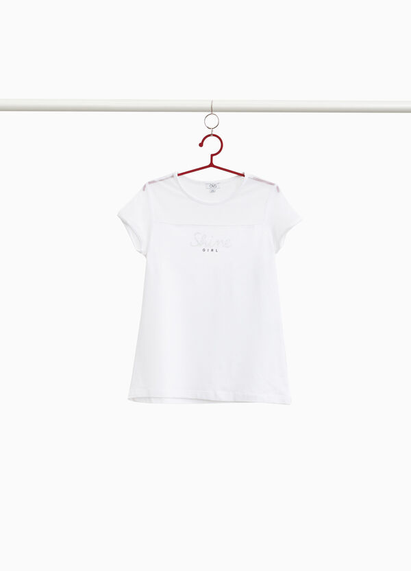 T-Shirt Baumwollstretch halb transparent