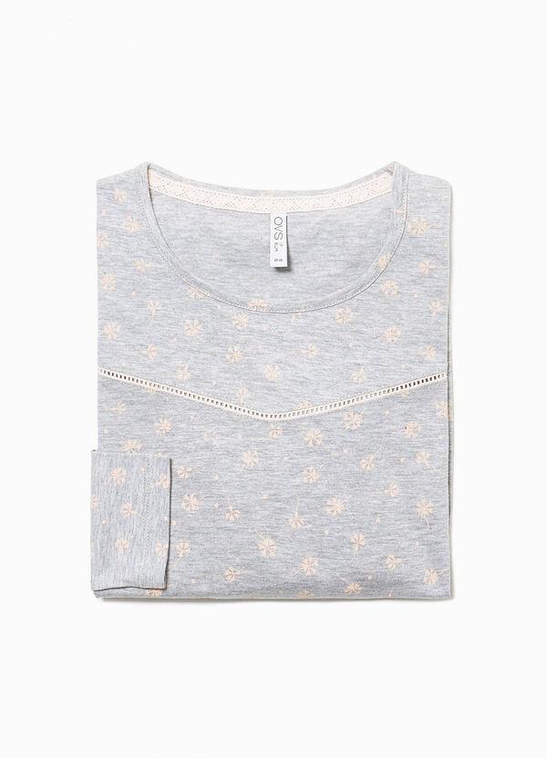 Pyjama-Shirt floral mit Volant