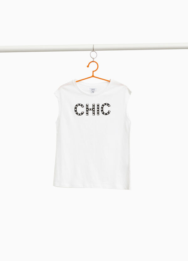 T-Shirt Baumwolle Lettering mit Strass