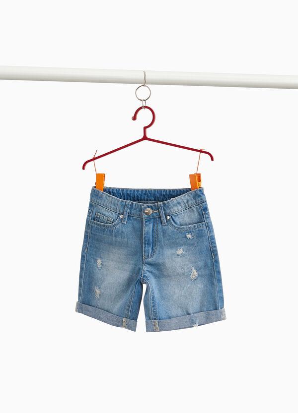 Jeans-Bermuda Used-Effekt Destroyed-Element