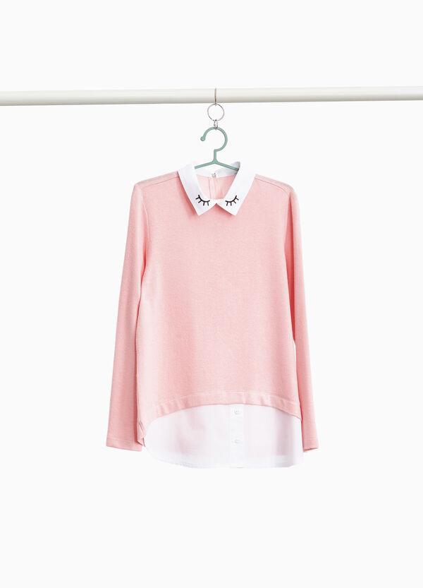Stretch-Pullover mit aufgesetzter Doppelkante