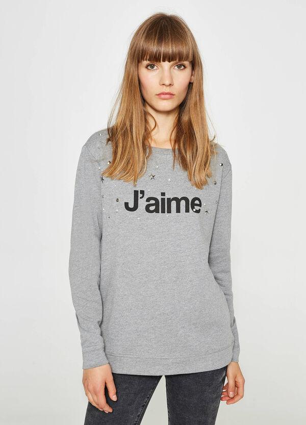 Sweatshirt Baumwolle Buchstabenaufdruck und Strass | OVS