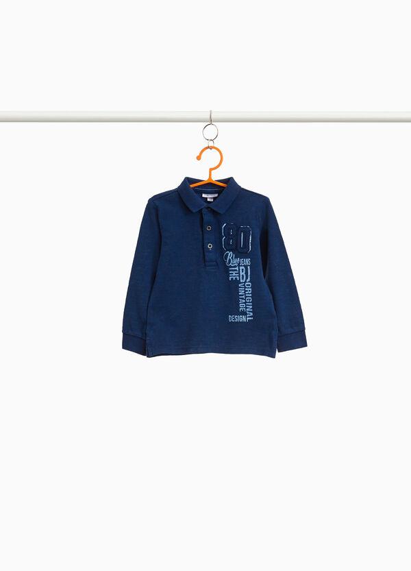 Polo-Shirt reine Baumwolle mit Aufdruck und Patch