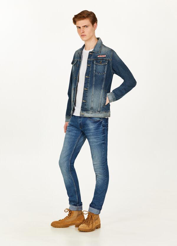 Jeans-Blouson mit Aufdruck und Patch