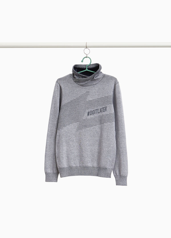 Pullover Trikot mit Print und Struktur