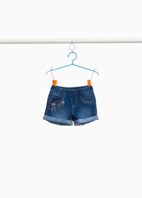 Jeans-Stretch-Shorts Strass Sterne