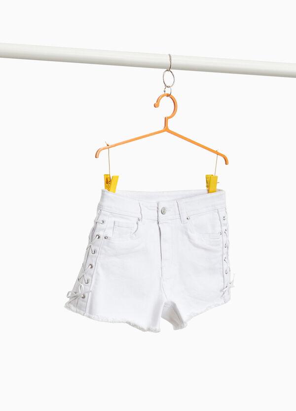 Shorts Baumwollstretch mit Schnürbändern