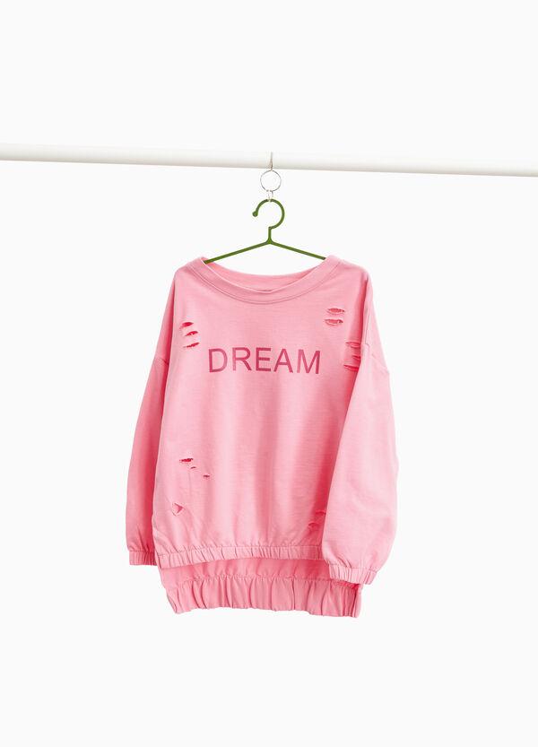 Sweatshirt aus Baumwolle mit Destroyed-Stellen und Aufdruck