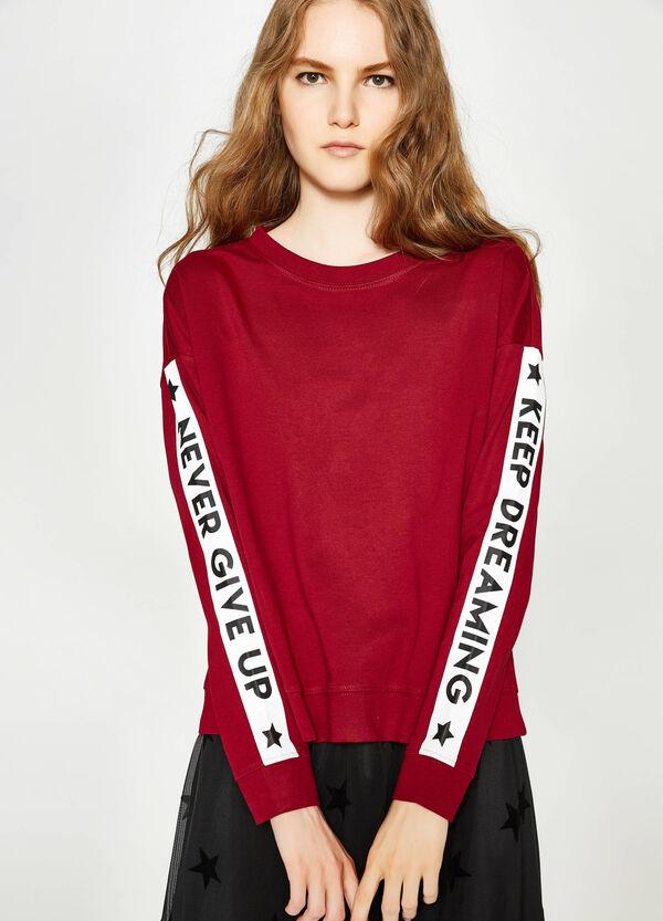 Crop-Sweatshirt aus Baumwolle mit Aufdruck | OVS