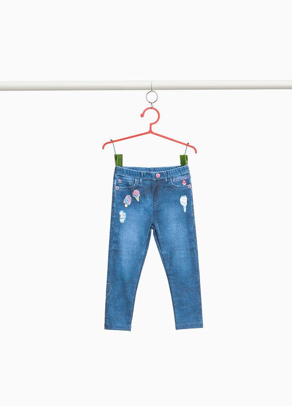 Stretch-Leggings Muster Jeans-Effekt