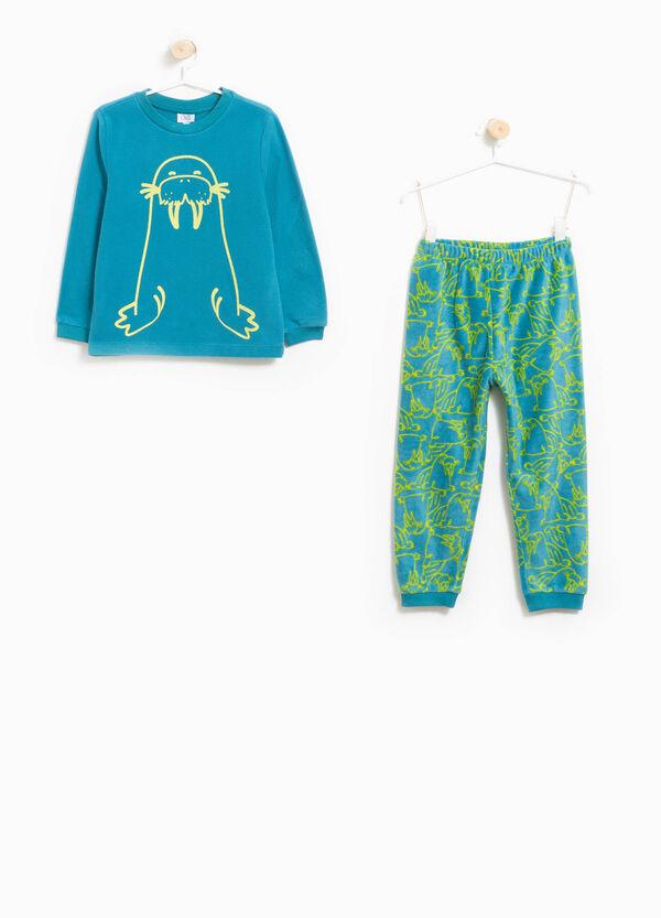 Pyjama aus Fleece Aufdruck und Muster Walross | OVS
