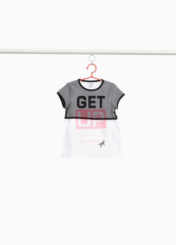 T-Shirt Baumwollstretch mit Netzstoff