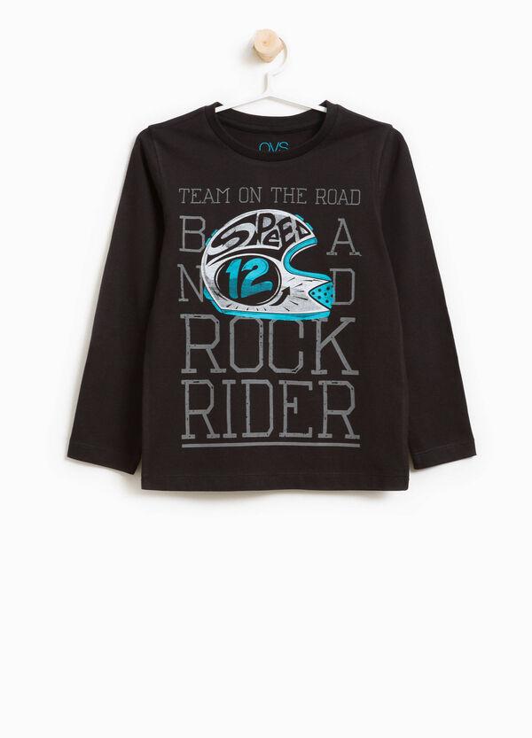 T-Shirt reine Baumwolle Rundhalsausschnitt und Aufdruck | OVS