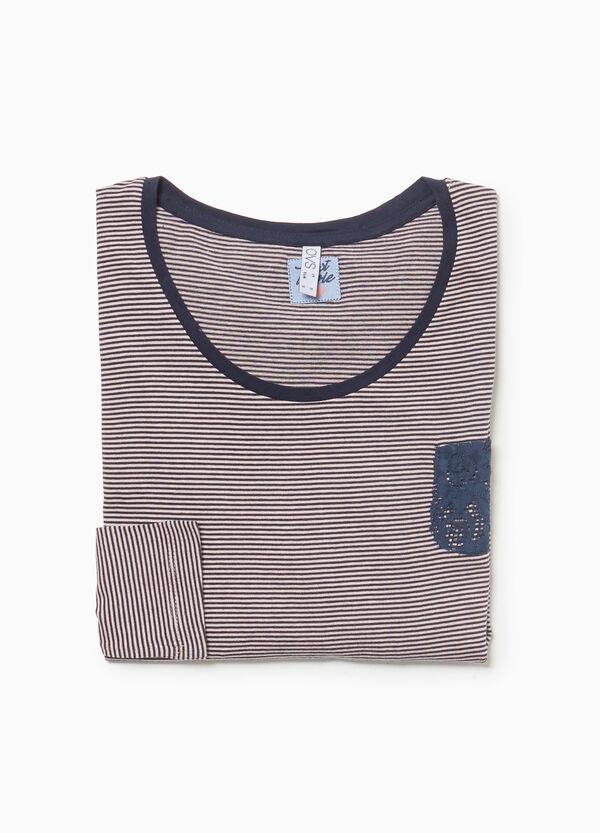 Pyjama-Shirt reine Baumwolle gestreift