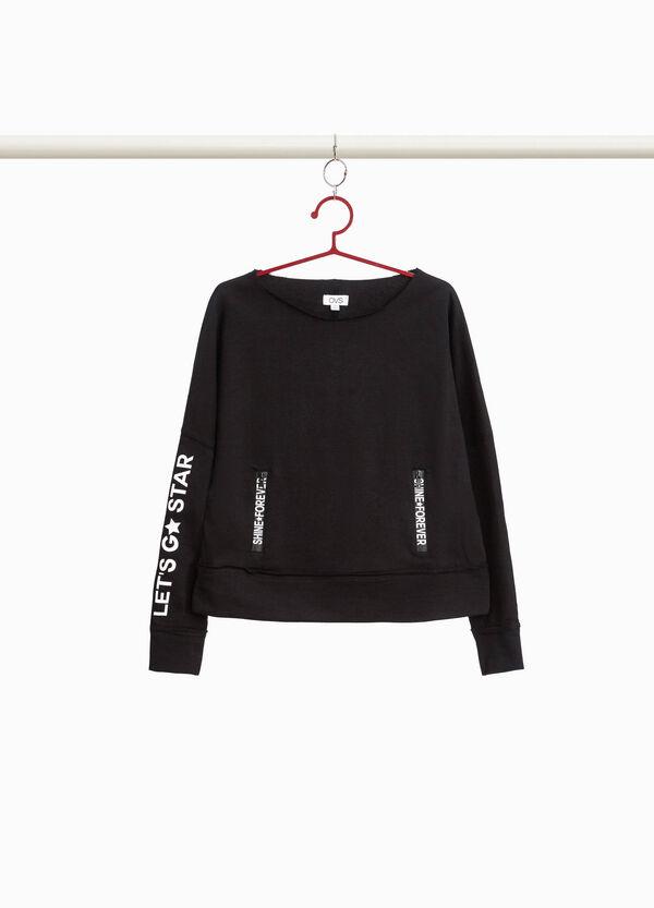 Sweatshirt Baumwolle mit Öffnung und Aufdruck