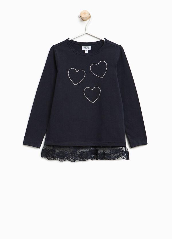 T-Shirt aus Baumwolle mit Spitze und Strass   OVS