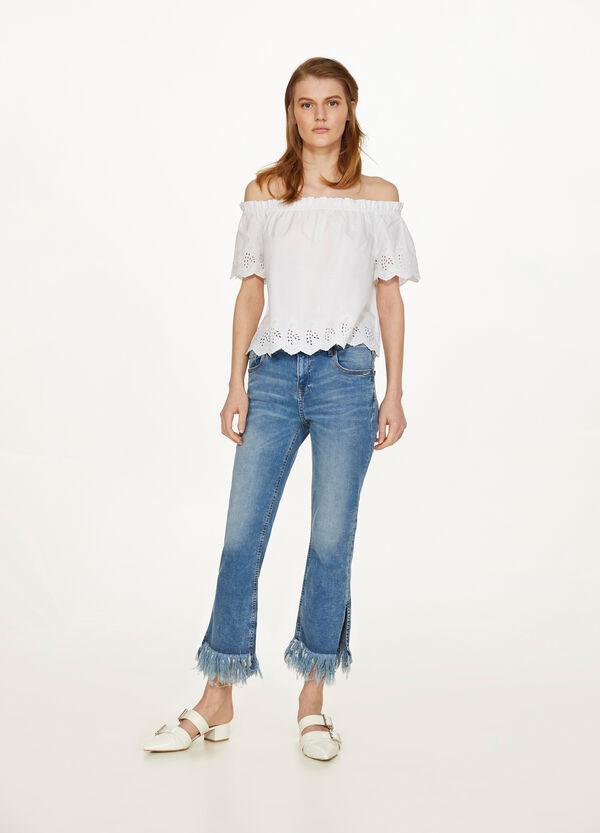 Stretch-Jeans Skinny Fit ausgefranst