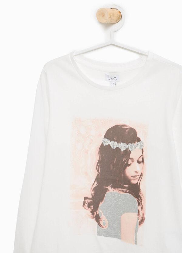 T-Shirt reine Baumwolle Glitter-Aufdruck | OVS