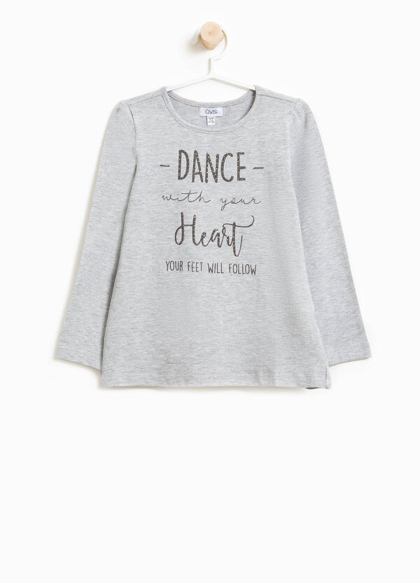 T-Shirt Stretch Glitter-Buchstabenaufdruck   OVS