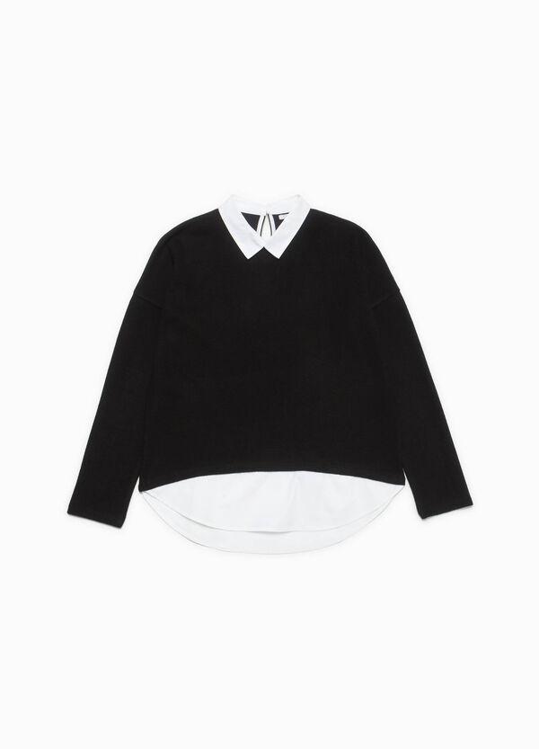 T-Shirt Baumwoll-Mix mit klassischem Kragen