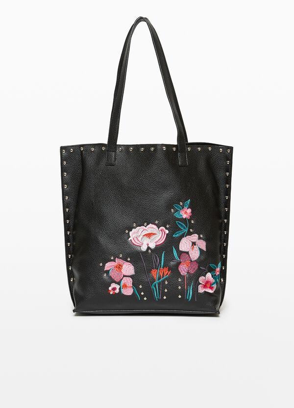 Shopper mit floraler Stickerei und Nieten