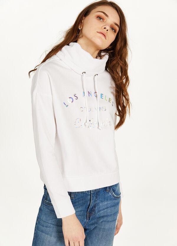 Crop-Sweatshirt bedruckt mit Stehkragen