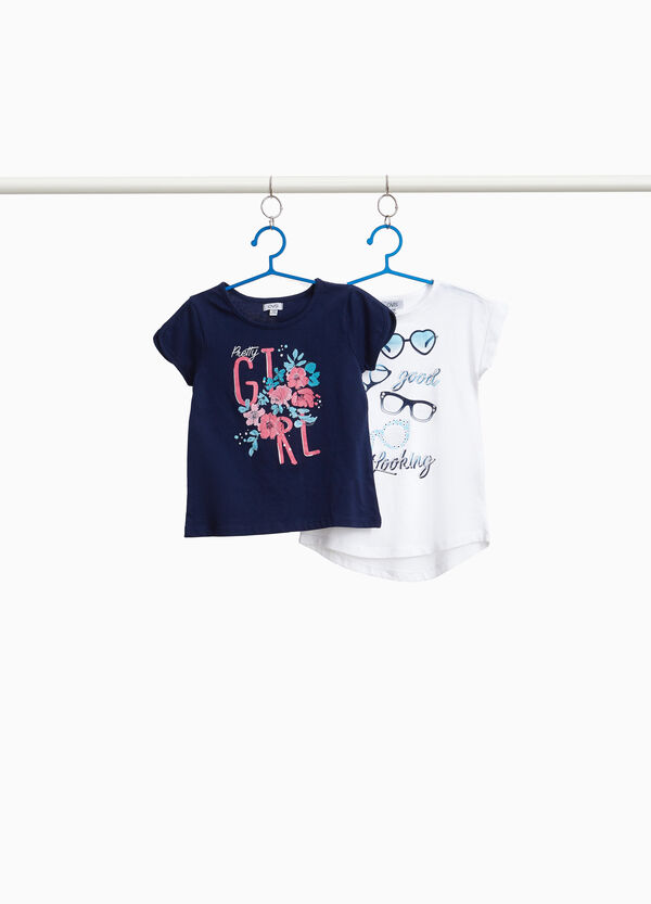 Set zwei T-Shirts reine Baumwolle bedruckt