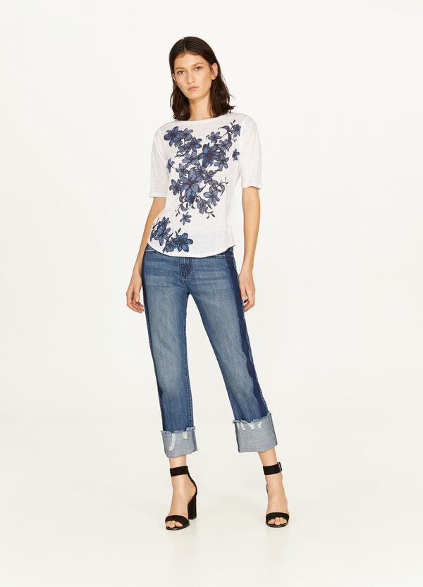 T-Shirt reines Leinen floraler Print