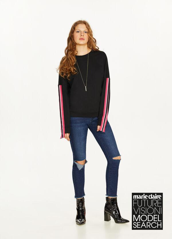 Sweatshirt reine Baumwolle mit Bändern