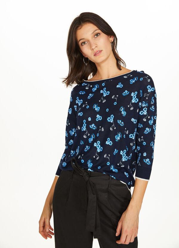 Pullover Viskose floral Profil gestreift