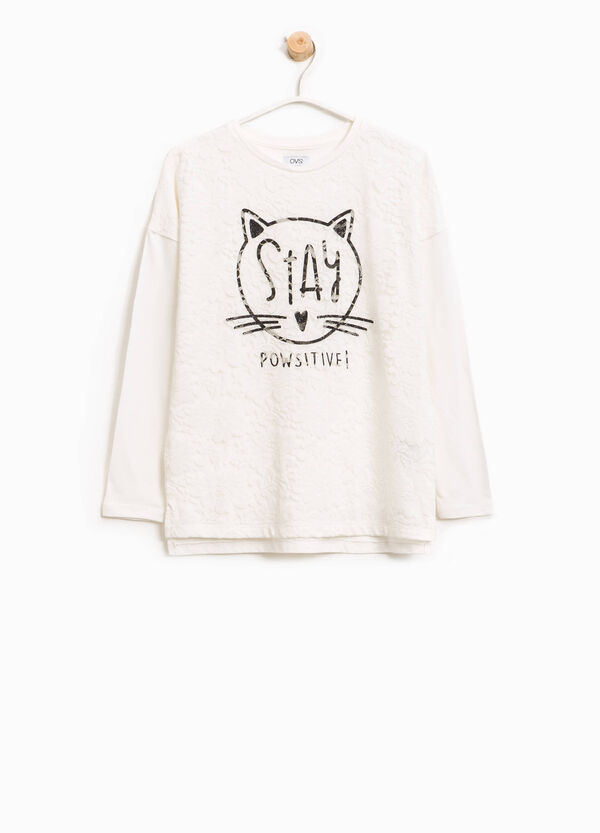 Baumwoll-T-Shirt mit Spitze und Aufdruck | OVS