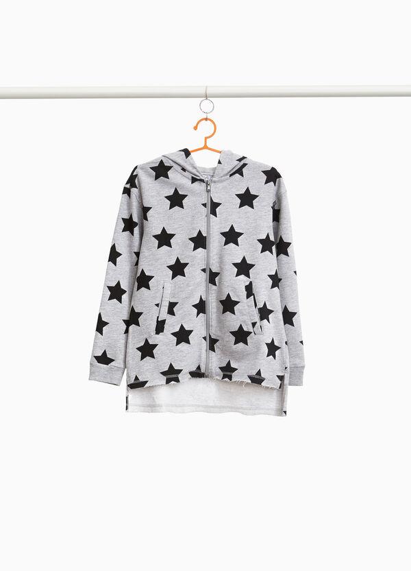 Sweatshirt Muster Sterne und Stickerei Kätzchen