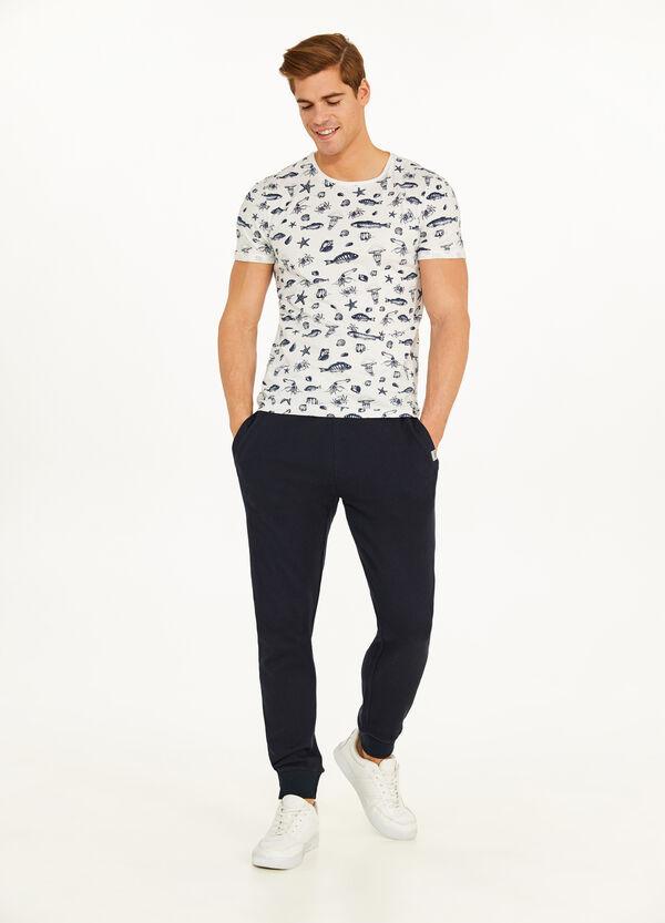 T-Shirt aus Baumwolle All-over-Aufdruck Marine