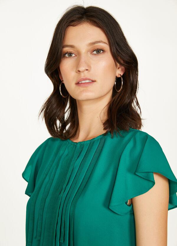 Einfarbige Bluse mit Plissee-Einsatz
