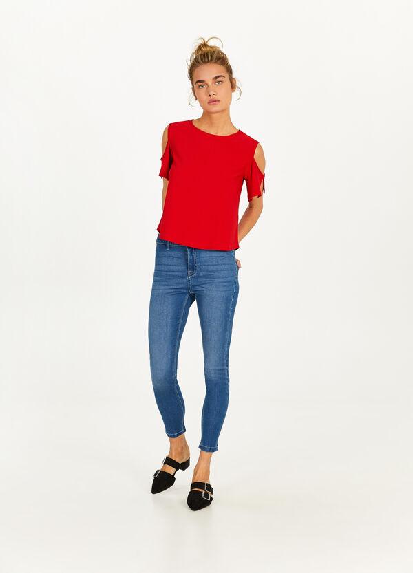 Crop-Jeans Skinny Fit mit Zipper
