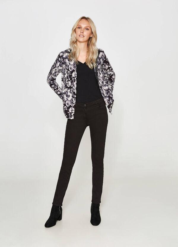 Fleece-Sweatshirt floral mit Stehkragen   OVS