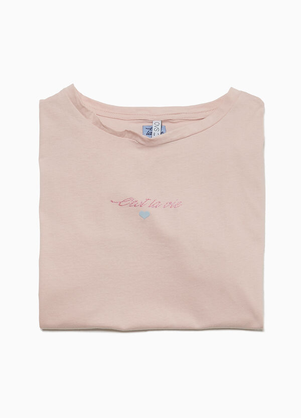 Pyjama-Shirt Baumwolle Glitter und Volant