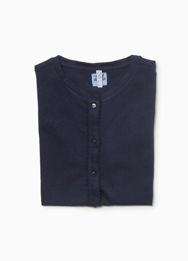 Pyjama-Shirt reine Baumwolle Volant