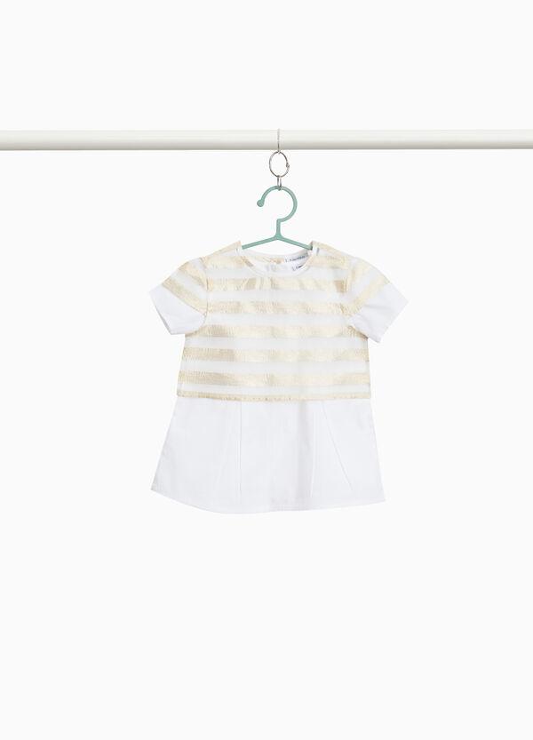 Bluse reine Baumwolle aufgesetzte Doppelkante Streifen