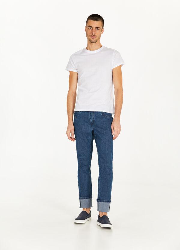 Stretch-Jeans mit Streifenstruktur